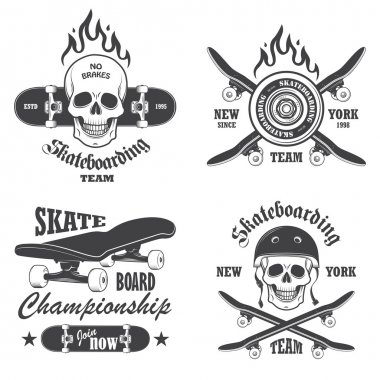 Set of skateboarding emblems, labels and designed elements. Set