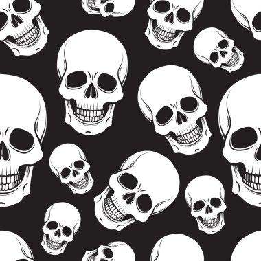 Black and white skull seamless pattern