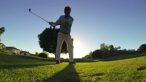 Slow Motion Young Man Golfing At Golf Course