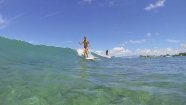 Surfer Girl Surfing Ocean Wave
