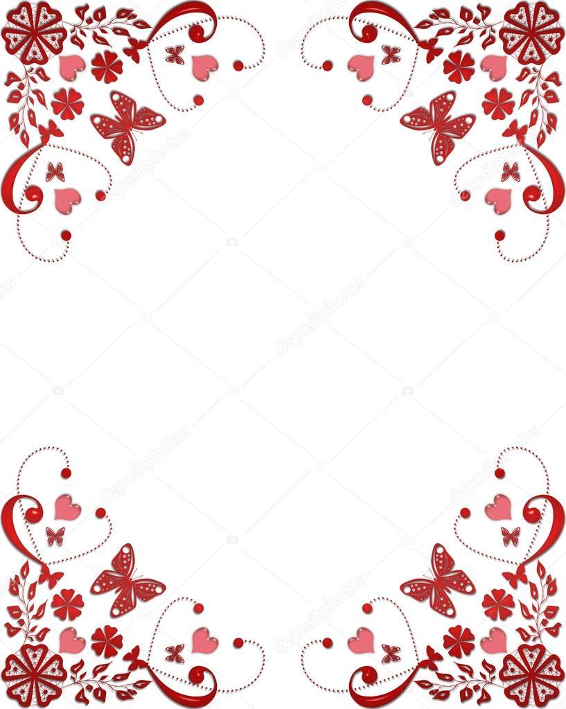 rojo borde floral con mariposas y corazones — Foto de stock ...