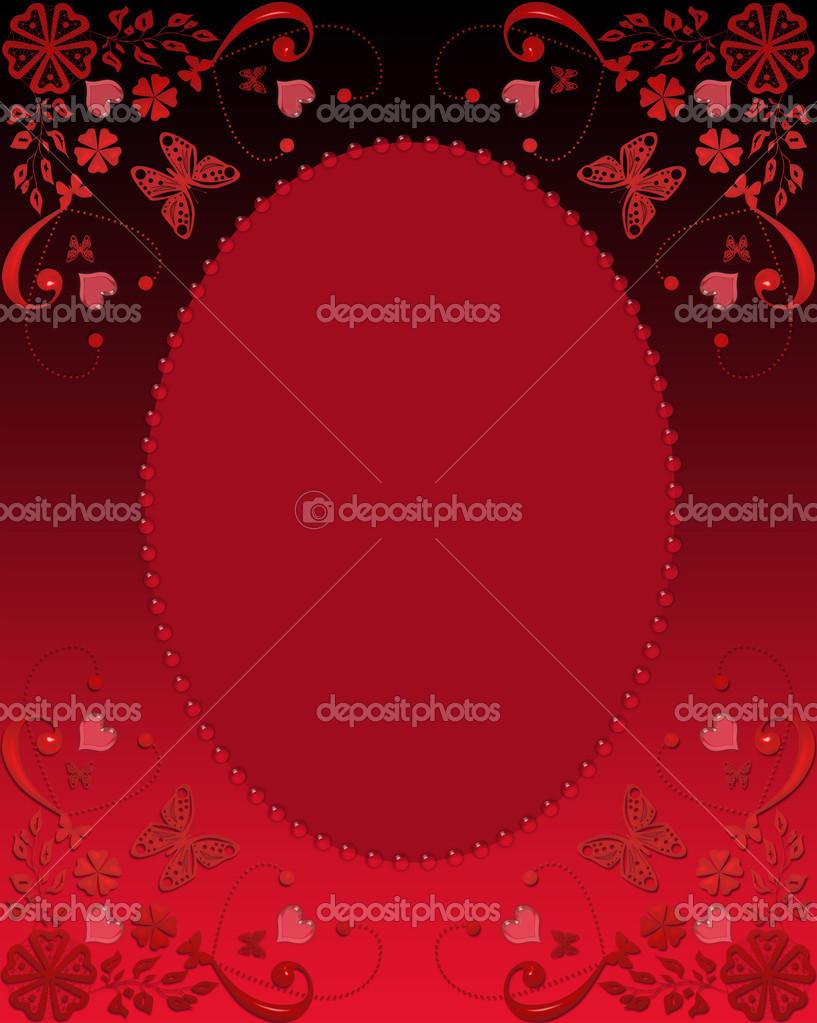 marco de cristal rojo oscuro con mariposas y corazones — Fotos de ...