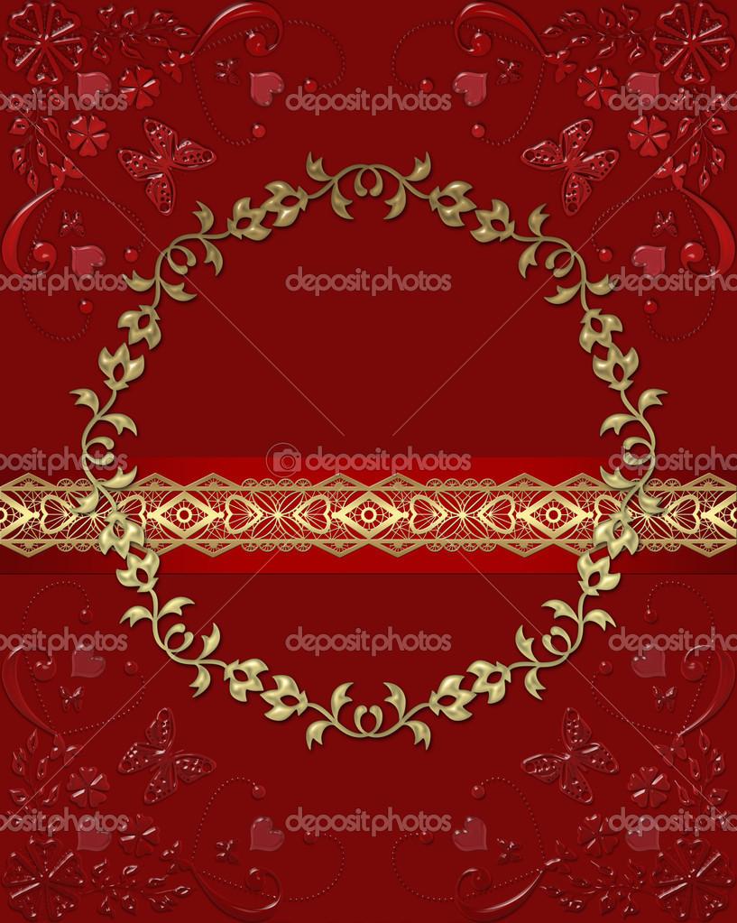 marco de cristal rojo oscuro con mariposas y corazones lacy — Foto ...