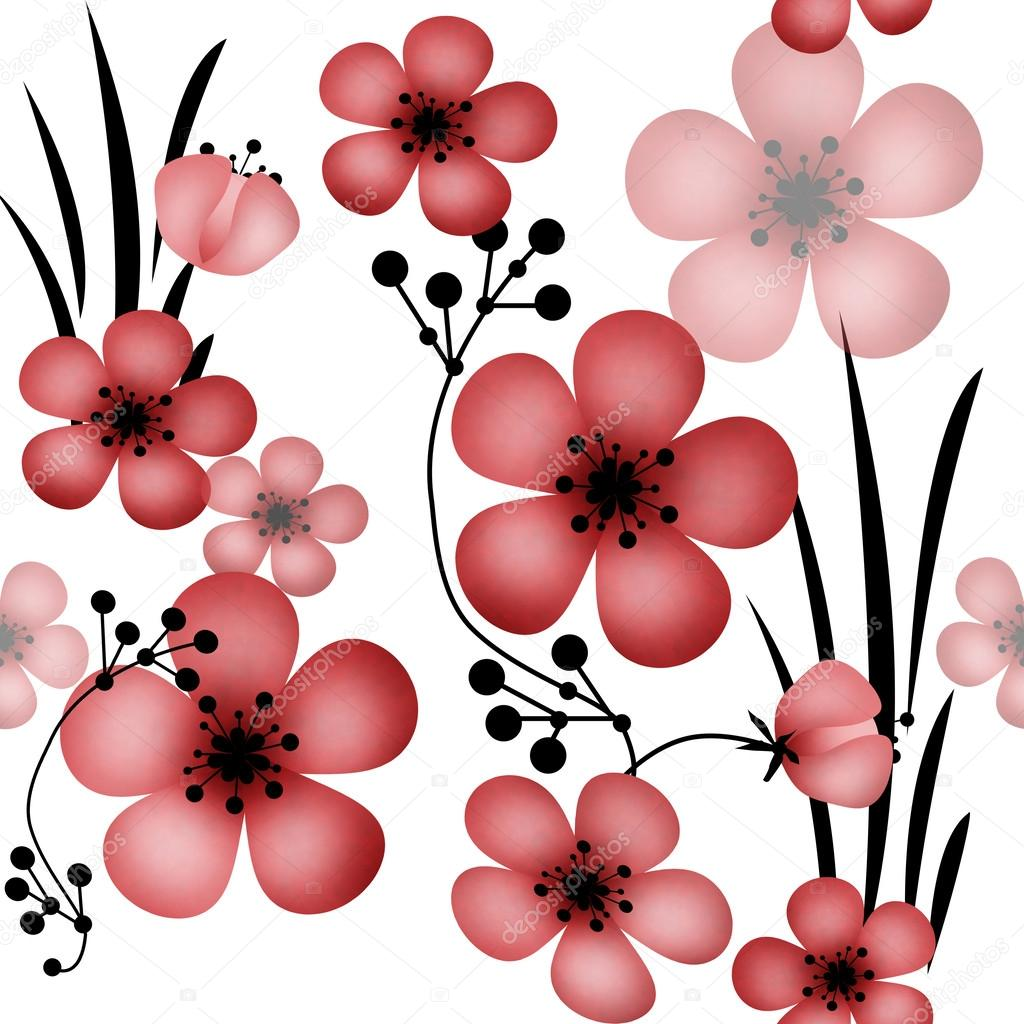 Seamless floral pattern with flowers on white background