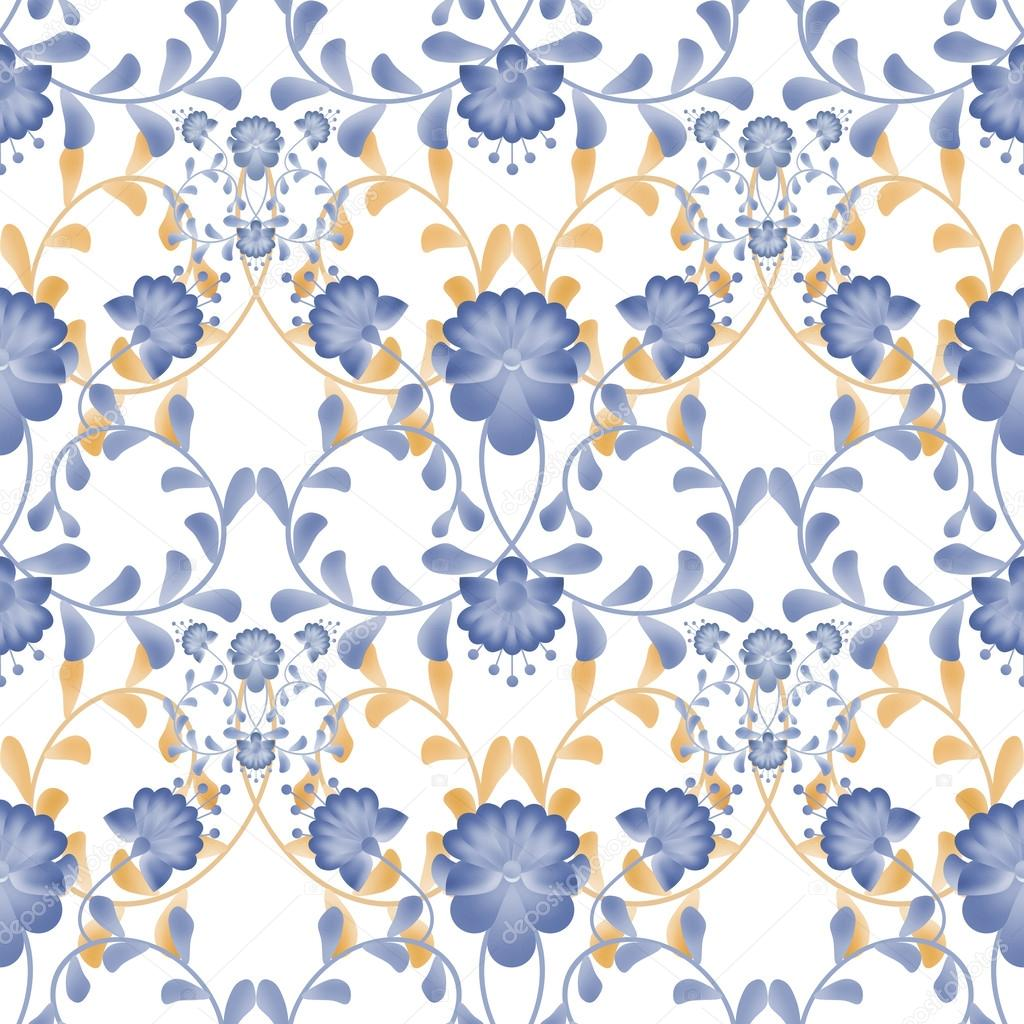 Floral seamless pattern with white flowers texture gzhel