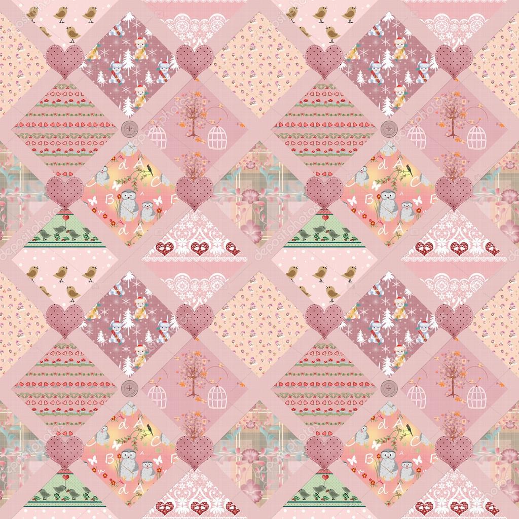 mosaico niños Rosa plazas de patrones sin fisuras textura — Foto de ...