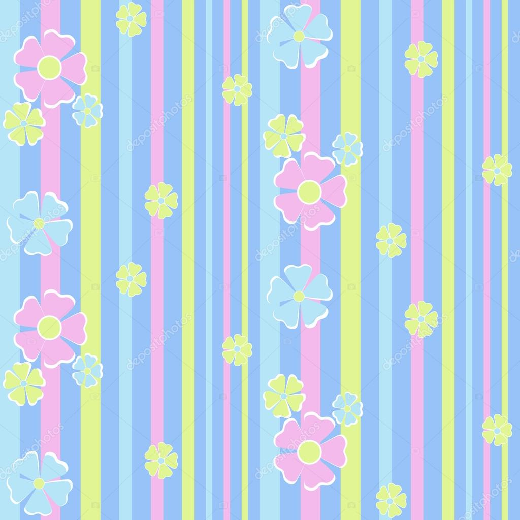 Childrens seamless floral pattern on striped