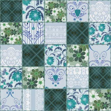 Patchwork seamless floral lace green pattern
