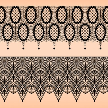 Abstract seamless fabric black lace pattern on beige