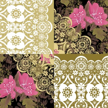 Patchwork seamless white lace retro pink flowers pattern