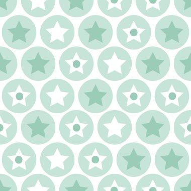 Geometric kids turquoise circles and stars seamless pattern back