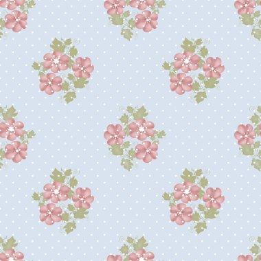 Seamless pink flowers pattern on blue polka dot