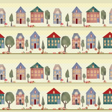 Kids patchwork seamless pattern with houses and trees