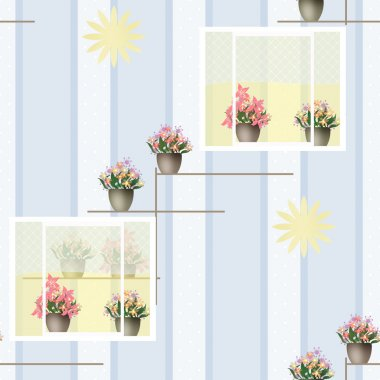 Seamless pattern with flowers in pots in windows on blue