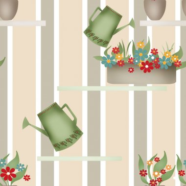 Seamless pattern with watering cans pots and flowers on striped
