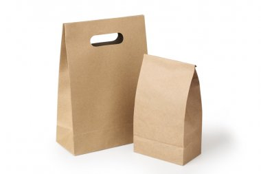 Brown paper bags isolated on a white background. stock vector