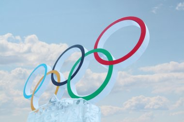PERM, RUSSIA - JAN 6, 2014: Cloudy sky and symbol of Olympic Gam
