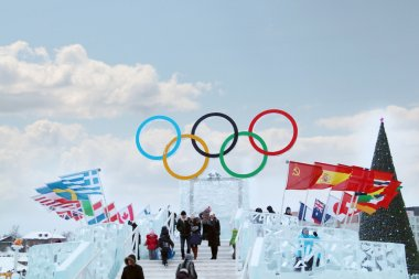 PERM, RUSSIA - JAN 6, 2014: Symbol of Olympic Games in Ice town,