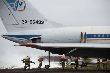Training fire on the aircraft Ilyushin-62 in Domodedovo airport