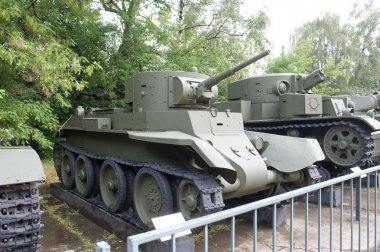 Soviet historical tanks BT-7 and T-28 in the Central Museum of the armed forces, side view