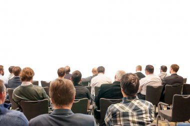 Silhouettes of the people sitting back on the business conference isolated on white - design for your presentation