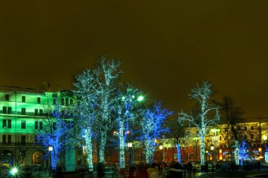 Illuminated trees on the street in Moscow