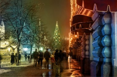 Christmas on the streets of Moscow, Russia at the evening