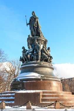 Monument to Catherine the Great on Ostrovsky Square. St Petersburg, Russia