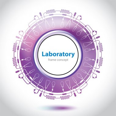 Abstract purple medical laboratory circle element.