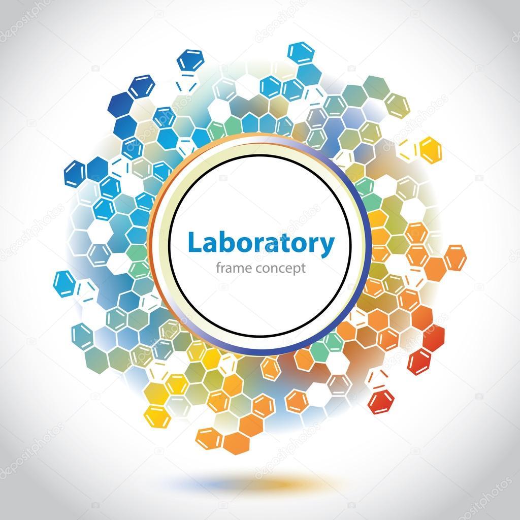 Abstract orange-blue medical laboratory circle element.