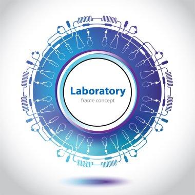Abstract bluish medical laboratory circle element.