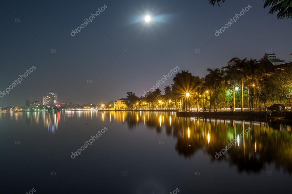 Full moon at West lake, Hanoi, Vietnam