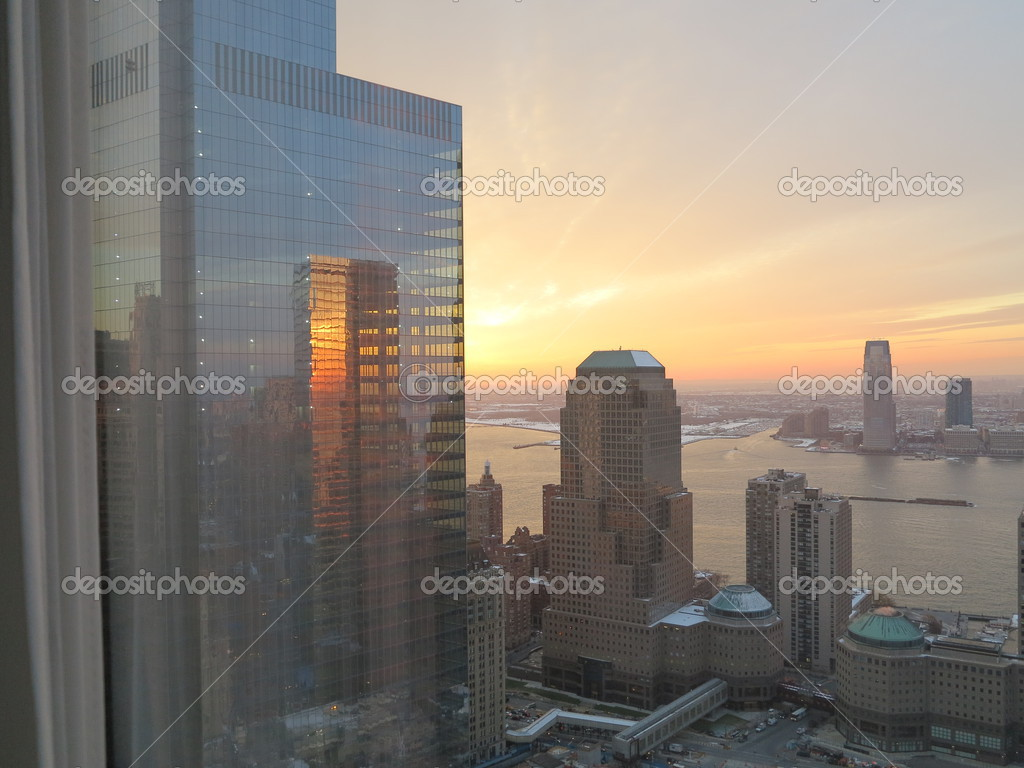 new york city sunset showing winter garden and looking out towards
