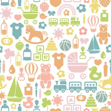 Seamless pattern with colorful baby icons stock vector