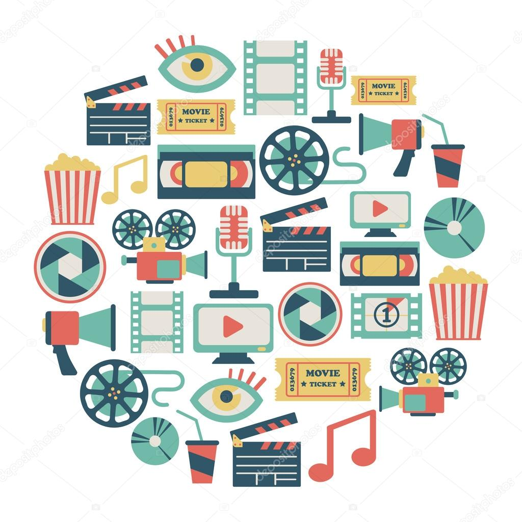 Round card with flat movie design elements stock vector