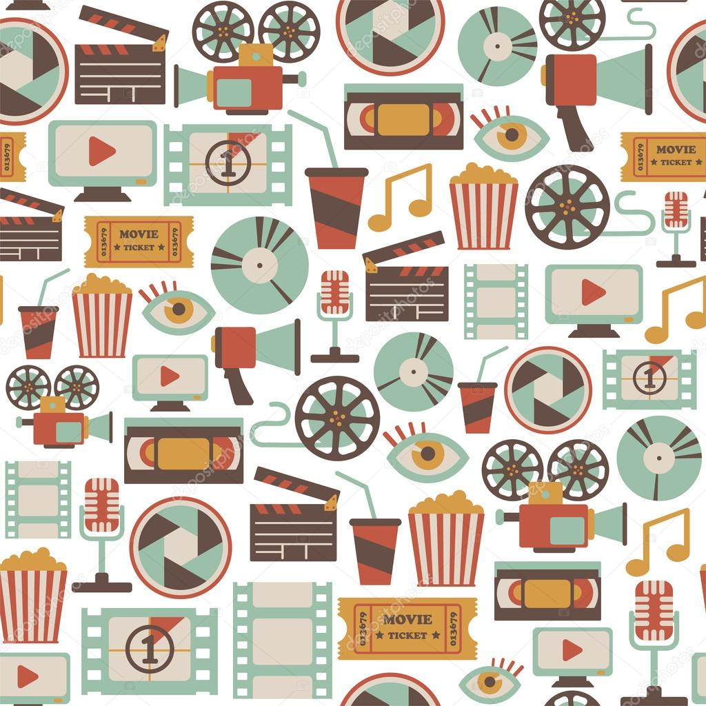 Seamless pattern with retro cinema icons stock vector