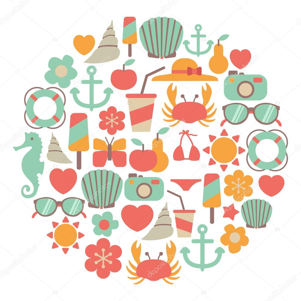 Summer vacations vector colorful icons