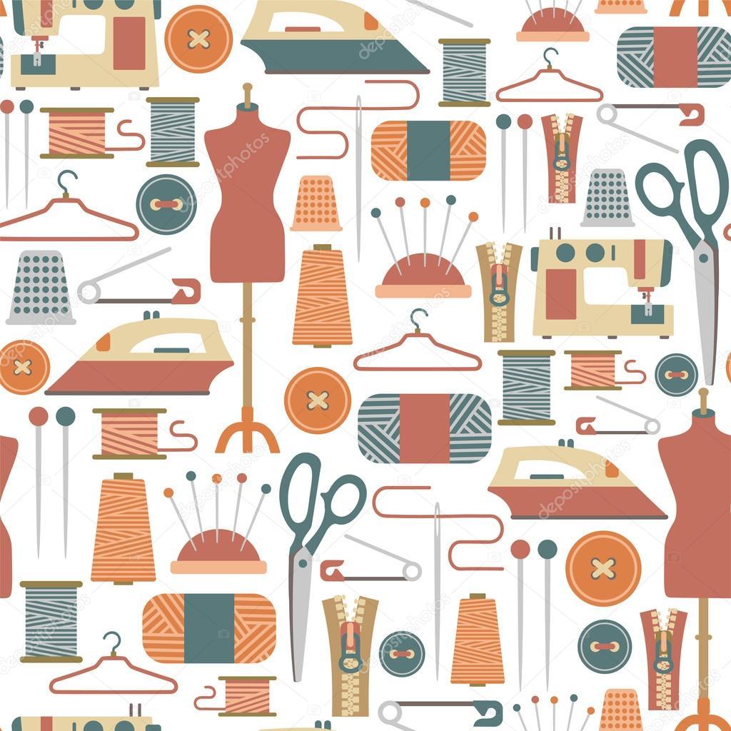 patrones sin fisuras con iconos de costura — Archivo Imágenes ...