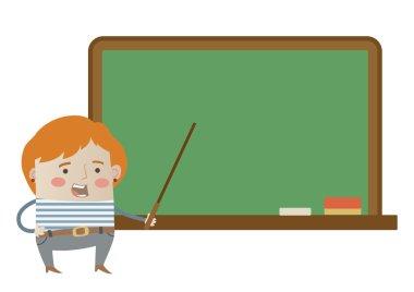 Teacher in front of a chalkboard
