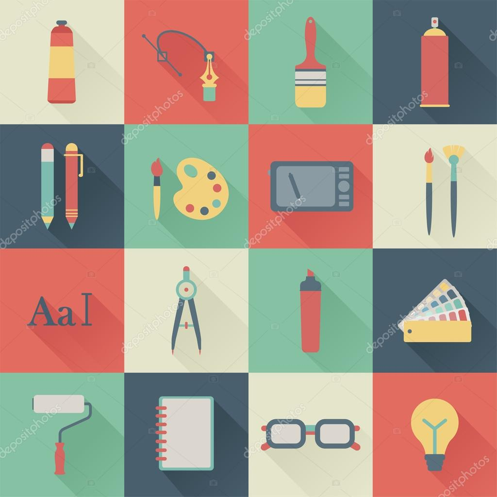 Set of flat graphic design icons stock vector