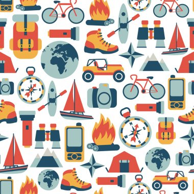 pattern with adventure travel icons