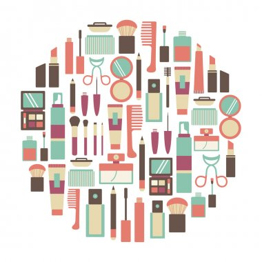 Round design element with makeup icons