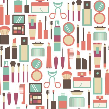 Seamless pattern with makeup icons