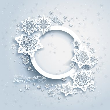 Christmas frame on snow background with space for text stock vector