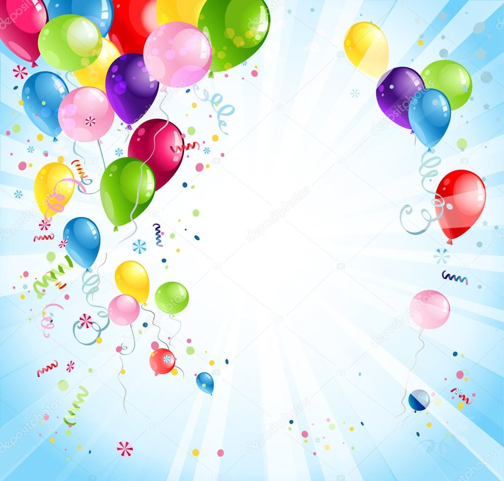 Bright holiday with balloons