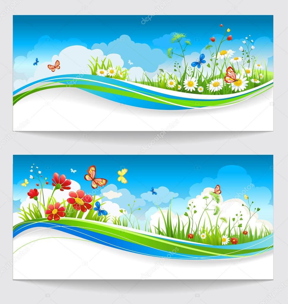 Two summer banners with flowers and butterflies