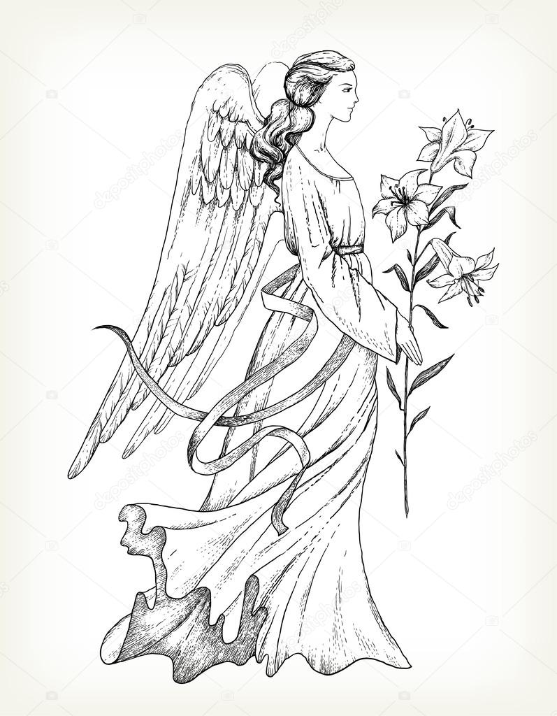 Hand drawn angel with lily