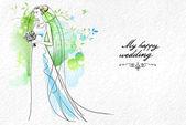 matrimonio acquerello sfondo con ramo
