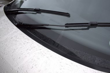Close Up of Vehicles Windscreen Bonnet and Wiper Blades