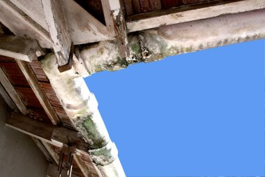 Upward View Of Mouldy Neglected Asbestos Guttering